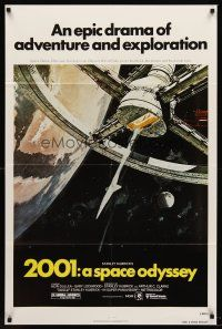 5p013 2001: A SPACE ODYSSEY 1sh R80 Stanley Kubrick, art of space wheel by Bob McCall!