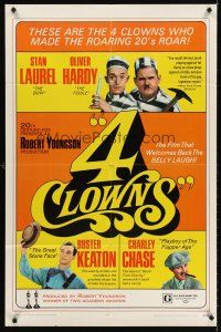 5p017 4 CLOWNS 1sh '70 Stan Laurel & Oliver Hardy, Buster Keaton, Charley Chase!