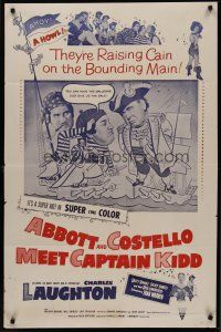 5p023 ABBOTT & COSTELLO MEET CAPTAIN KIDD 1sh R60 art of pirates Bud & Lou with Charles Laughton!