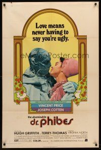 5p025 ABOMINABLE DR. PHIBES 1sh '71 Vincent Price says love means never having to say you're ugly!