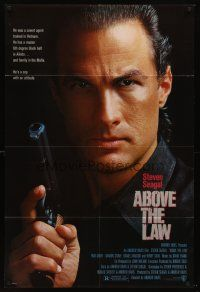 5p026 ABOVE THE LAW 1sh '88 best image of tough guy Steven Seagal!