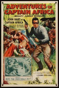 5p034 ADVENTURES OF CAPTAIN AFRICA chapter 4 1sh '55 serial, John Hart, Into the Crocodile Pit!