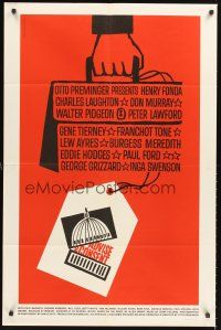5p002 ADVISE & CONSENT 1sh '62 Otto Preminger, classic Saul Bass art of briefcase & Capital!