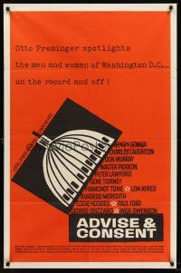 5p001 ADVISE & CONSENT rare int'l capitol style 1sh '62 Otto Preminger,cool different Saul Bass art!