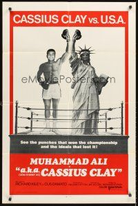 5p022 A.K.A. CASSIUS CLAY int'l 1sh '70 champion boxer Muhammad Ali & Statue of Liberty in ring!