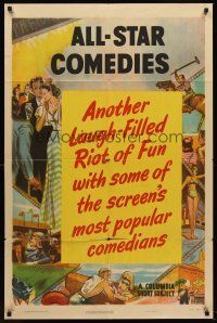 5p050 ALL-STAR COMEDIES 1sh '50 Columbia comedy shorts, cool border artwork!