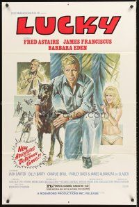 5p055 AMAZING DOBERMANS 1sh R78 Fred Astaire, sexy Barbara Eden, Lucky!