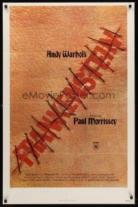 5p061 ANDY WARHOL'S FRANKENSTEIN 1sh '74 Paul Morrissey, great image of title in stitches!