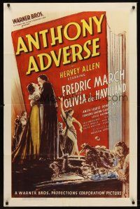 5p066 ANTHONY ADVERSE 1sh '36 full-length image of Fredric March & Olivia de Havilland embracing!