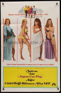 5p068 ANYONE CAN PLAY 1sh '68 sexiest near-naked Ursula Andress, Virna Lisi, Claudine Auger & Mell!