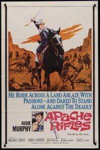 5p069 APACHE RIFLES 1sh '64 Audie Murphy vowed to stop the bloodshed of two warring nations!