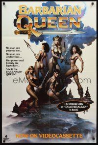 5p080 BARBARIAN QUEEN video 1sh '85 sexy artwork of five near-naked female warriors by Boris Vallejo