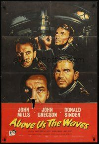 5p028 ABOVE US THE WAVES English 1sh '56 John Mills & English WWII sailors at periscope in sub!