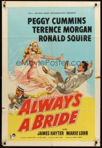 5p053 ALWAYS A BRIDE English 1sh '53 wacky art of sexy Peggy Cummins & Terence Morgan!