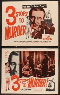 5r051 3 STOPS TO MURDER 8 LCs '53 Terence Fisher's Blood Orange, Tom Conway, the perfect crime!
