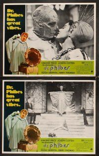 5r055 ABOMINABLE DR. PHIBES 8 LCs '71 great images of hideous Vincent Price & Virginia North!
