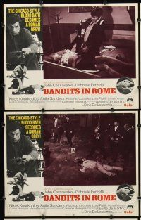 5r072 BANDITS IN ROME 8 LCs '69 John Cassavetes, Chicago-style blood bath becomes a Roman orgy!