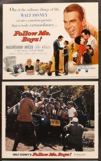 5r027 FOLLOW ME BOYS 9 LCs '66 Fred MacMurray leads Boy Scouts, young Kurt Russell, Walt Disney!