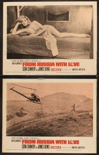 5r001 FROM RUSSIA WITH LOVE 8 LCs '64 barechested Sean Connery points gun at sexy girl in bed!