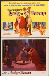 5r033 LADY & THE TRAMP 9 LCs R72 Walt Disney romantic canine dog classic cartoon!