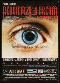 5w070 REQUIEM FOR A DREAM Japanese 29x41 '01 drug addicts Jared Leto & Jennifer Connelly, eye image!