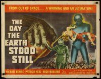 5x017 DAY THE EARTH STOOD STILL 1/2sh '51 Robert Wise, classic art of Gort holding Patricia Neal!