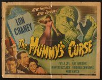 5x054 MUMMY'S CURSE 1/2sh '44 great image of bandaged Lon Chaney Jr. menacing pretty girl!
