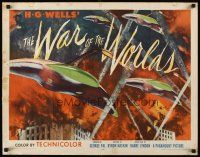 5x003 WAR OF THE WORLDS style B 1/2sh '53 HG Wells classic George Pal, best warships attacking art!
