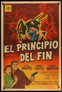 5y001 BEGINNING OF THE END Argentinean '57 art of Peter Graves, Peggy Castle & wacky bugs!