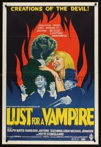 5y008 LUST FOR A VAMPIRE Aust 1sh '71 wacky sexy devils in female bodies with the kiss of death!
