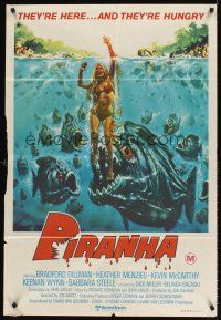 5y010 PIRANHA Aust 1sh '78 Roger Corman, great art of man-eating fish & sexy girl by John Solie!
