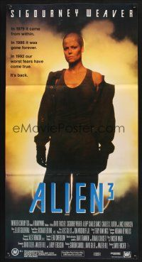 5y013 ALIEN 3 Aust daybill '92 Sigourney Weaver, our worst fears have come true!