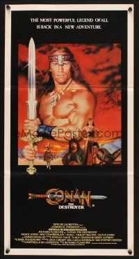 5y017 CONAN THE DESTROYER Aust daybill '84 Arnold Schwarzenegger is the most powerful legend!