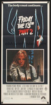 5y021 FRIDAY THE 13th PART II Aust daybill '81 Amy Steel with pitchfork in slasher horror sequel!