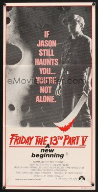 5y022 FRIDAY THE 13th PART V Aust daybill '85 A New Beginning, Jason still haunts you, different!