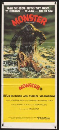 5y024 HUMANOIDS FROM THE DEEP Aust daybill '80 art of Monster looming over sexy girl on beach!