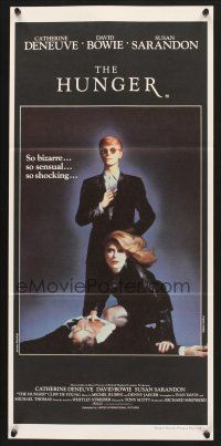 5y025 HUNGER Aust daybill '83 cool image of vampire Catherine Deneuve & rocker David Bowie!