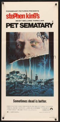5y031 PET SEMATARY Aust daybill '89 Stephen King's best selling thriller, cool graveyard image!
