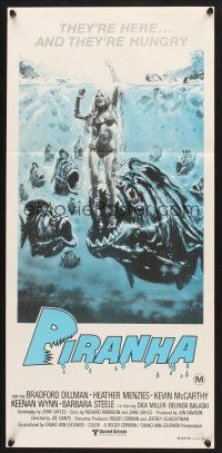 5y032 PIRANHA Aust daybill R80s Roger Corman, great art of man-eating fish & sexy girl!