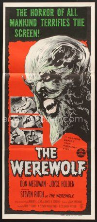 5y040 WEREWOLF Aust daybill '70s different wolfman art, it happens before your horrified eyes!
