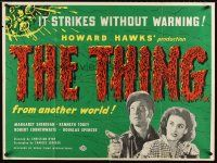 5y003 THING British quad R60s Howard Hawks classic horror, it strikes without warning!