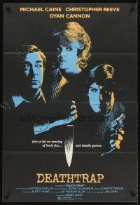 5y004 DEATHTRAP English 1sh '82 cool different art of Chris Reeve, Michael Caine & Dyan Cannon!