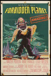 5y348 FORBIDDEN PLANET 1sh '56 most classic art of Robby the Robot carrying sexy Anne Francis!