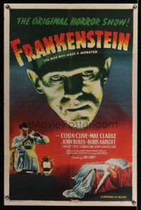 5y099 FRANKENSTEIN 1sh R47 best full-color close up artwork of Boris Karloff as the monster!