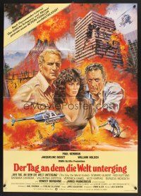5y043 WHEN TIME RAN OUT German '80 cool art of Paul Newman, William Holden & Jacqueline Bisset