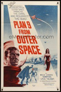 5y591 PLAN 9 FROM OUTER SPACE signed 1sh '58 by Conrad Brooks, arguably the worst movie ever,Ed Wood