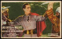 5y072 ADVENTURES OF CAPTAIN MARVEL Spanish herald '41 Tom Tyler stops two bad guys at once!