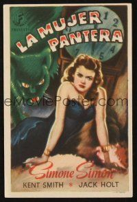 5y075 CAT PEOPLE Spanish herald '42 Val Lewton, art of sexy Simone Simon by black panther!