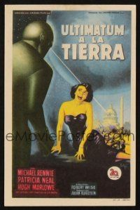 5y078 DAY THE EARTH STOOD STILL Spanish herald '51 different art of Gort & Patricia Neal!