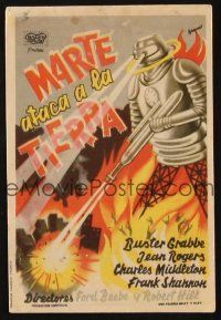 5y080 FLASH GORDON'S TRIP TO MARS Spanish herald '47 different Baneo art of robot destroying city!